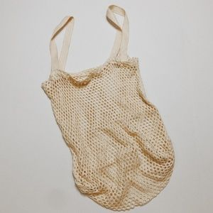• VINTAGE • cream netted fruit tote bag